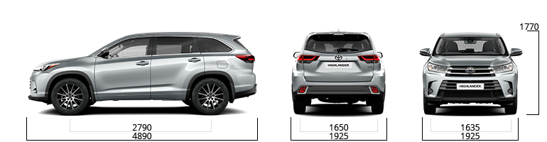 toyota highlander sizes