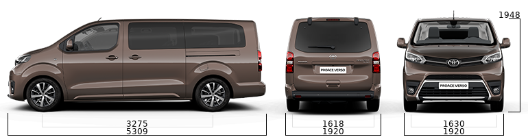toyota proace verso sizes